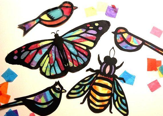Kids Craft farfalla Stained Glass Suncatcher Kit con uccelli