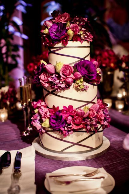 cake using brown ribbon and mostly fuschia floralsPretty Cake, White Chocolate, Beautiful Cake, Fuschia Floral