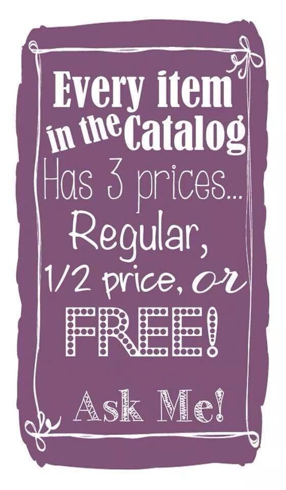 Half price items are always good! Free is even better!! I'm waitin'!   Check out my website and check out the catalog.... beautyandwarmth.scentsy.us
