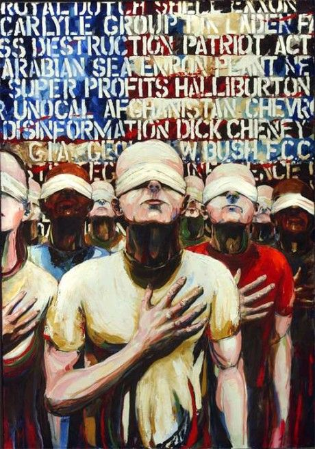 This piece is a painting exploring protest and the right to speak.  The artist  has used oil paint and smooth brush strokes to produce smooth blends which are easy on the eye. I will try and produce the same sort of effect with soft pastels when I come to do my final piece.  The composition consists of several protestors in the fore group, and famous protestors' names in the background, backed by an a rican flag. This is a patriotic symbol and gives the art a propaganda feel.