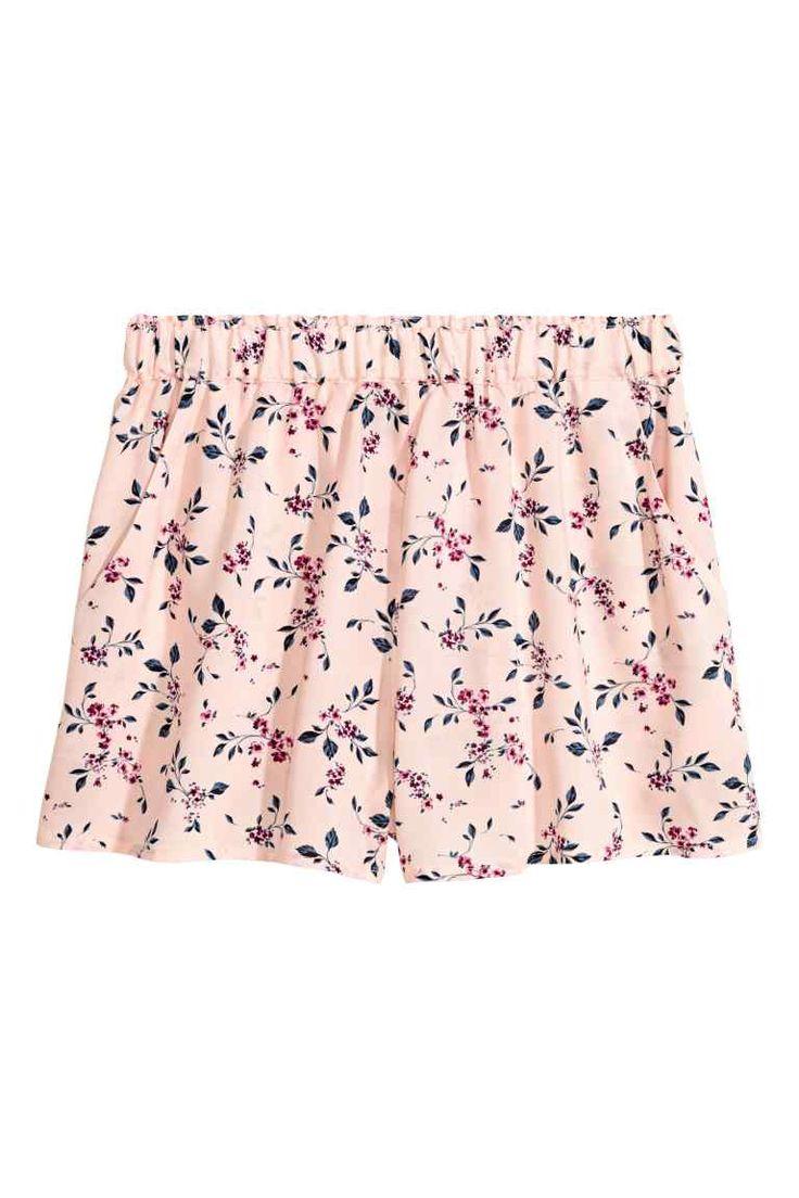 Pantaloni scurți cu motive - Roz-deschis/cu flori - FEMEI | H&M RO