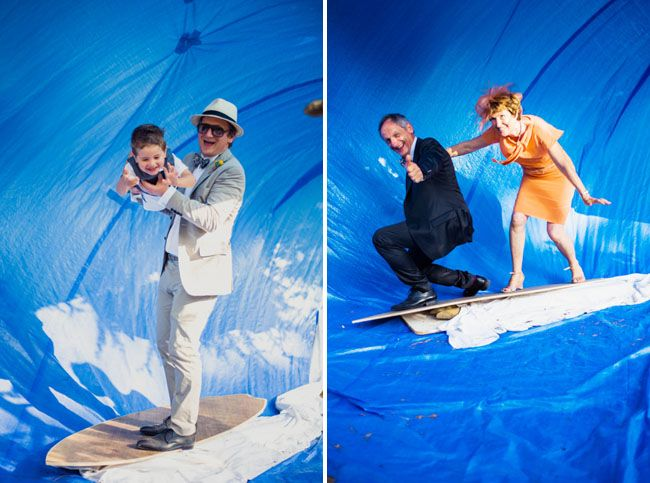 They had a wave for their 'photobooth' that the groom made himself. French Handmade Wedding: Elodie + Olivier