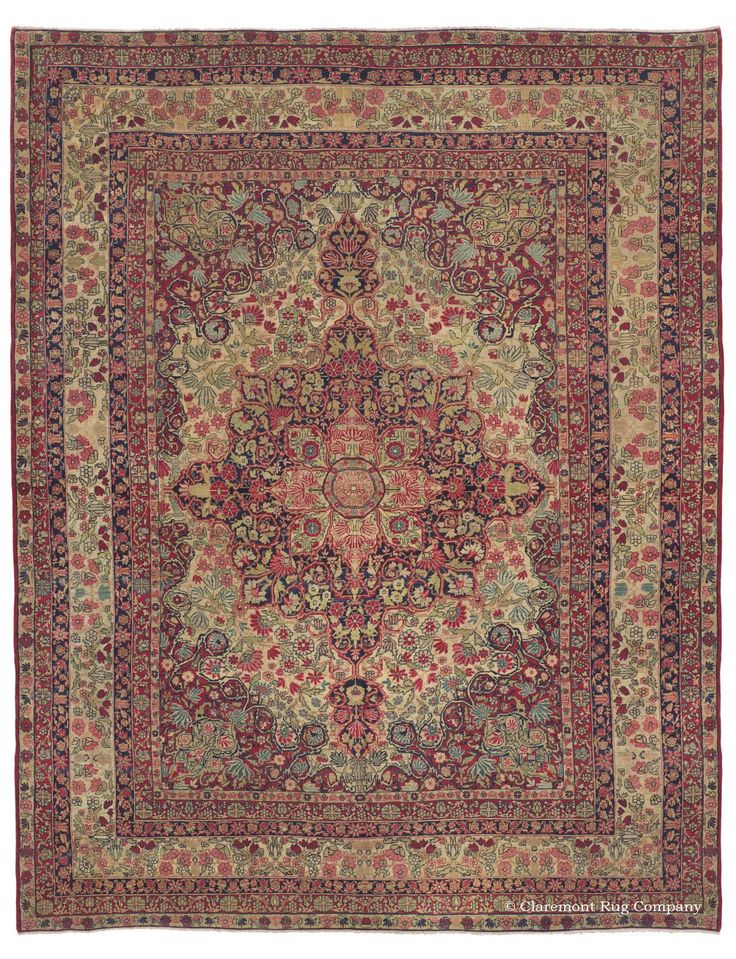This Extraordinarily Beautiful Room Size Antique Oriental Carpet In The Laver Kirman Rug Style Is A Superlative Example Of Heights