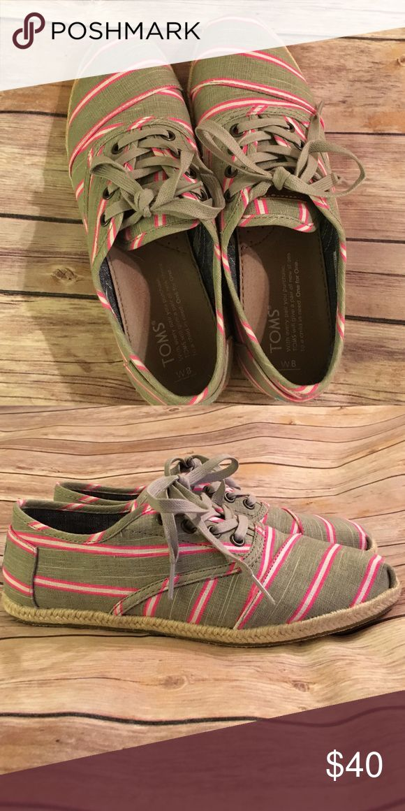 Gray & Pink TOMS sneakers Cute with espadrilles-like soles--comfy and fun! Worn once! Price firm. TOMS Shoes