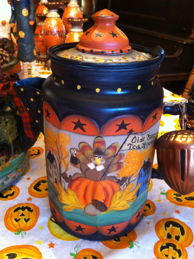 Vintage coffee pot, painted for Thanksgiving!  By Lisa Stuckey