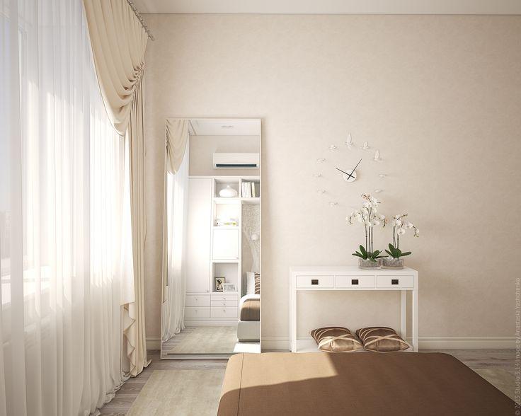 Большое зеркало в пол и компактная тумба для мелочей в оформлении спальни.