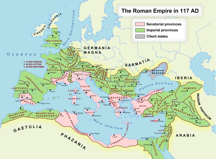 Roman Empire, 117 AD. More maps of the Roman... - Maps on the Web