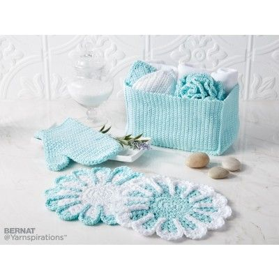 """Free Easy Crochet Home Decor Pattern ~ bath pouf approx. 6"""" diameter, floral facecloths approx. 10"""", basket approx. 5"""" x 10"""" x 6"""" , bath mitt one size (adult), scrubby approx. 5"""" long ~ FREE - CROCHET - love the colour on this one."""