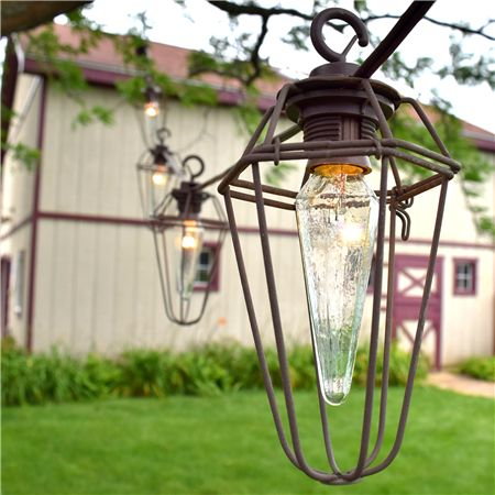 Decorate Your Patio With Vintage Hexagon Wire Cage Lantern String Lights.