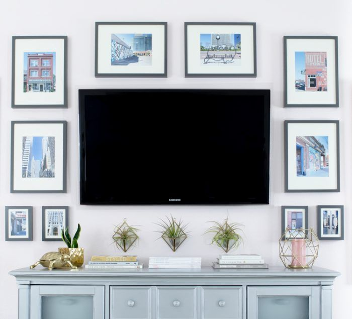 Gallery Wall Around The Tv In A Glam Master Bedroom