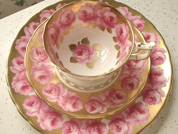 Antique pink roses tea cup trio, vintage Royal Chelsea pink and gold tea cup saucer plate set, English tea set, bone china tea cup set