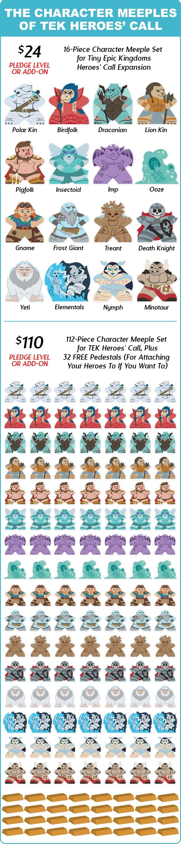 Character Design Kickstarter : Character meeples for tiny epic kingdoms heroes call by