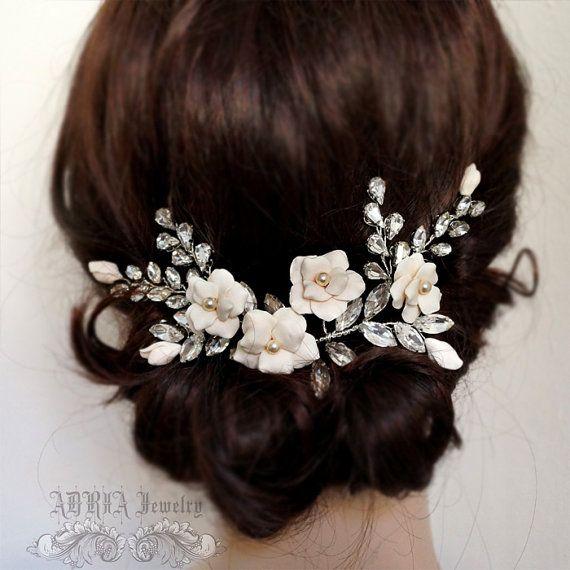 Oro novias tocados accesorios Wedding del pelo por adriajewelry