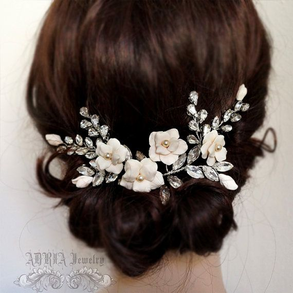 Flower Rhinestone Wedding Hair Vine Bridal Hair by adriajewelry