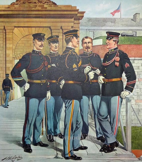 U.S. Army Non-Commissioned Officers, Staff & Engineers Uniforms c1902 by H.A. Ogden, Vintage 1959 Large 12x16 Art Print, FREE SHIPPING $12.00 $15.00