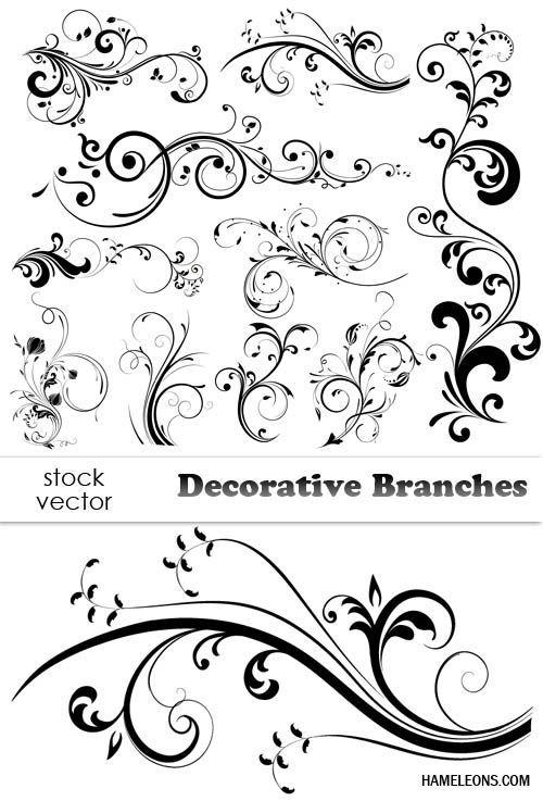 Декоративные цветочные завитки в векторе 2