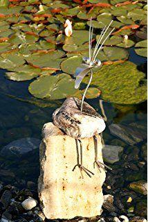 Steinvogel Werner sitzend , handgefertigte Vogel – Skulptur aus rostfreiem, wett…