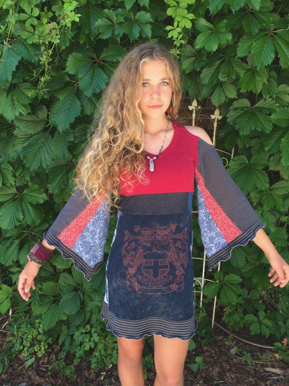 Eco Tunic Dress size XS-M hippy dress boho tunic dress by zasra