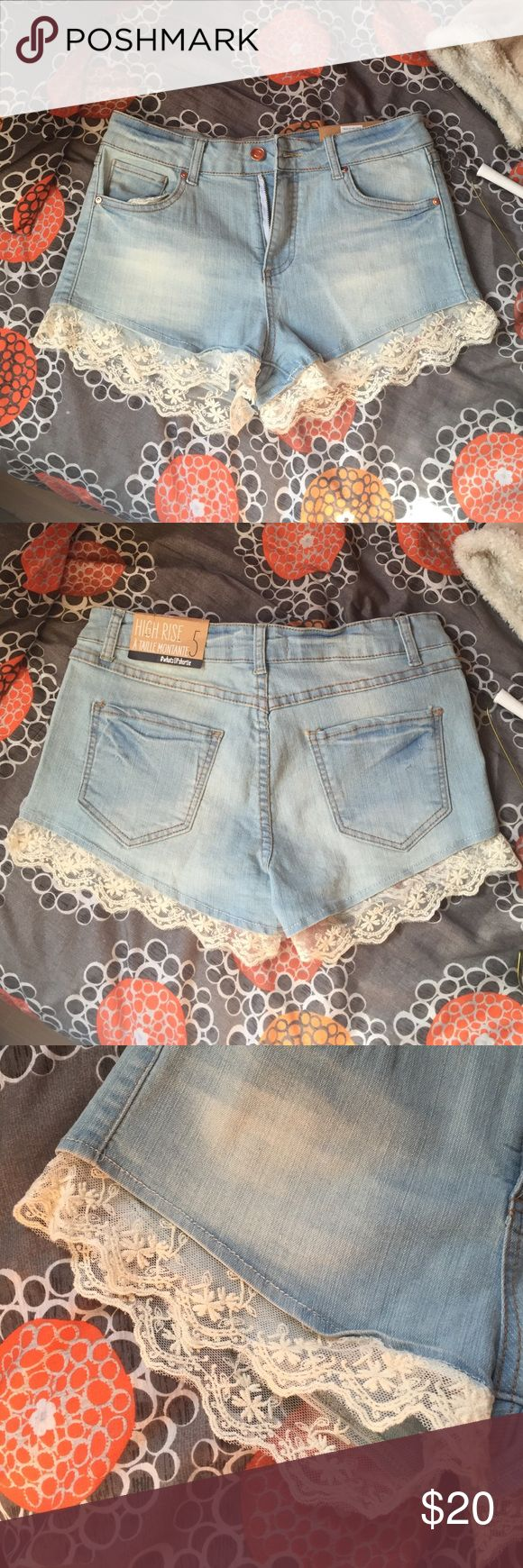 High rise denim shorts with lace trim BRAND NEW! Shorts Jean Shorts