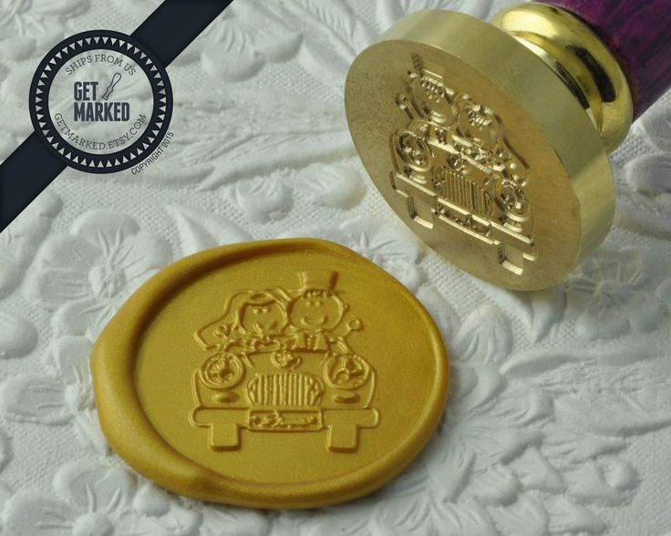 Wedding Car - Wax Seal Stamp by Get Marked - Wedding Collection (WS0185).  The stamp is ideal for wedding, engagement party and bridal shower invitations. #GetMarked, #waxsealstamp, #waxseal, #wax, #wedding, #invitation