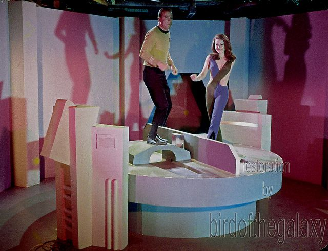 William Shatner and Sherry Jackson mounting the android making turntable to share a dance in this after hours shot.