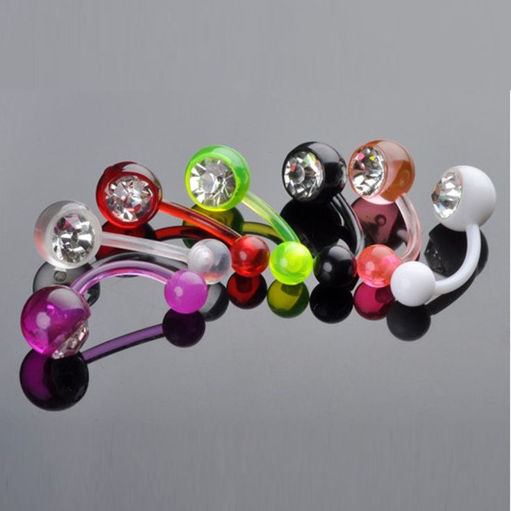 12pcs/Lot Navel Piercing Acrylic Belly Button Rings Body Jewelry Percing Navel Colorful Piercings Colorful Ball Wholesale