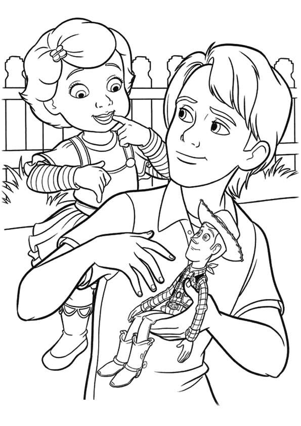 The Andy And Bonnie Coloring Page With Images Toy Story
