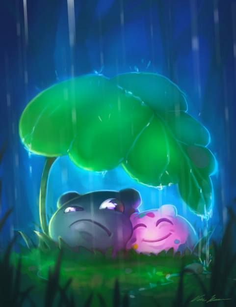 No need to fret about a little rain with a friend by your side <3 // Concept Art