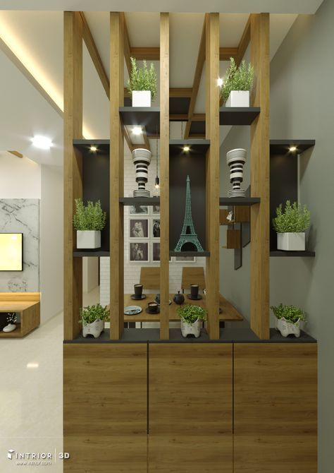 fabulous living room partition designs | Wooden Partition with Shoe Rack - Grey color niche ...