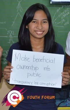 After learning about the costs and benefits of the proposed United Nations post-2015 development targets, this young woman from the Philippines ranked 'make beneficial ownership information public' as high top priority.