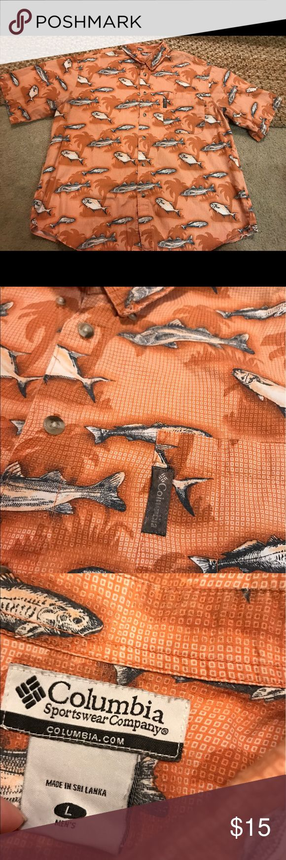 Men's Columbia fishing shirt size large Good condition! Orange with fish and palm trees Columbia Shirts Casual Button Down Shirts