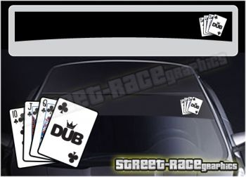 VW 'Dub King' windscreen sunstrip. Cut vinyl background with printed  logo