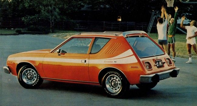 72 amc gremlin. My friend Bonnie's mom had one of these...same color. Drove low and felt like we were carrying an elephant on the roof.