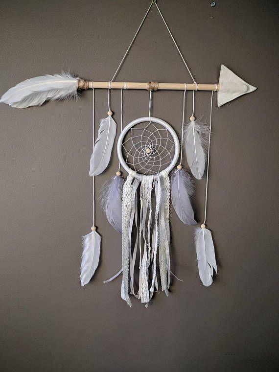 White arrow nursery dream catcher/ White & Silver large baby