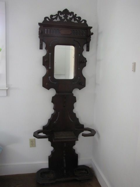 Antique Victorian Hall Tree and Umbrella Stand with Marble and Cast Iron antique appraisal | InstAppraisal