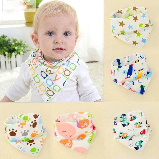Cotton Baby Bib Animal Print Infant Burp Bibs For Newborn Double Layer Saliva