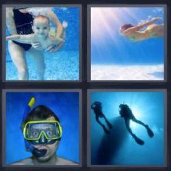 4 fotos 1 palabra bebe bajo el agua, Chica buceando, Chico con gafas y tubo de playa. Encuentra la solución que necesitas y continúa disfrutando. ;)
