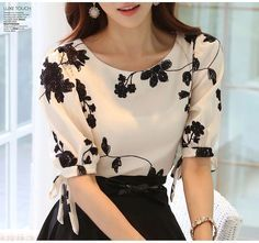 2015 Fashion Summer Ladies Vestidos Retro Flower Print Chiffon Shirt chiffon floral blouse Women short Sleeve Casual Brand Tops