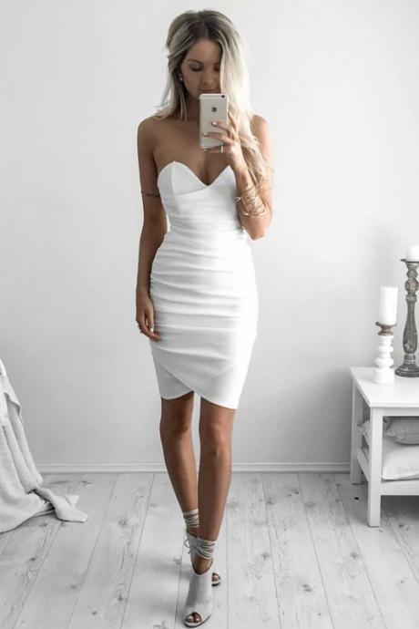 b9e3ab13664 Sheath Sweetheart Asymetrical Short Prom Dresses