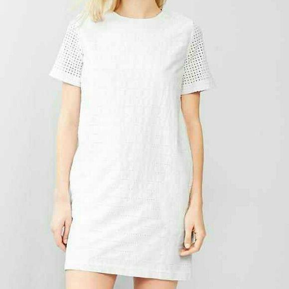 FIRM! Eyelet white shift dress Color is white. Super comfy. Zip back.  100% cotton. GAP Dresses