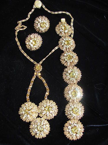 Vintage BEST Signed MIRIAM HASKELL Rhinestone set 3 Necklace Bracelet Earrings | eBay