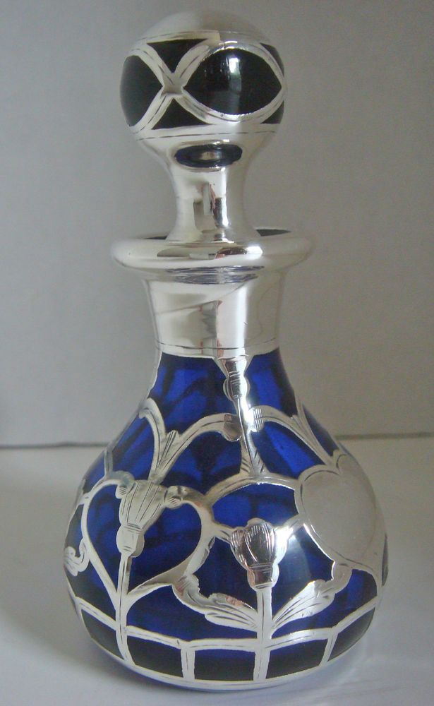 Rare Gorgeous Sapphire Blue Glass U0026 Sterling Silver Overlay Perfume Bottle