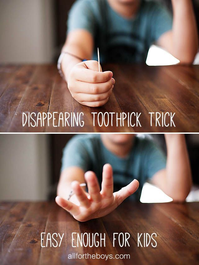 Easy Disappearing Toothpick Trick from All for the Boys blog