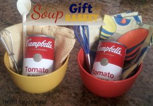 Soup Gift Basket with Items from the local dollar store. . . great get well gift idea (add crackers or ginger cookies if making for a 1st trimester pregnancy gift)