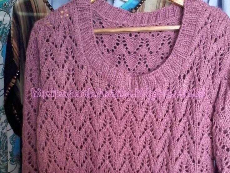 Artes na Passarela: Blusa de tricô rosa e rendada