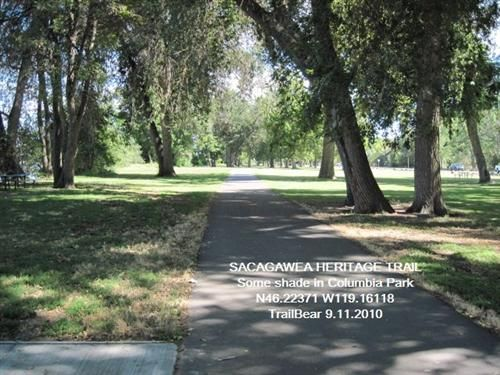 SACAGAWEA HERITAGE TRAIL: WA - 23 paved miles of trail that is a scenic river trek along the Columbia River through the Tri-Cities of Richland, Kennewick and Pasco in southeastern Washington. The trail is a 23-mile blacktop loop trail with portions on both sides of the Columbia River.