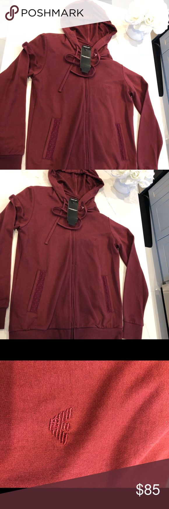 NEW!! EMPORIO ARMANI Jacket w/ hood 100% Authentic Brand New Lounge wear burgundy long sleeve jacket with hood. 100% Authentic. Purchased in Italy. Has authenticity tag and certificate. Emporio Armani Jackets & Coats
