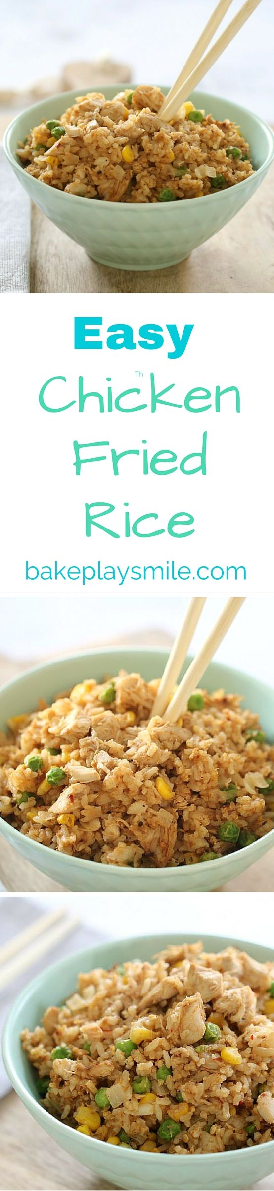 We LOVE this fried rice recipe! It's quick, easy and the best way to use up leftover chicken! This Easy Chicken Fried Rice is one of our go-to midweek dinners   Bake Play Smile #fried #rice #recipe #easy