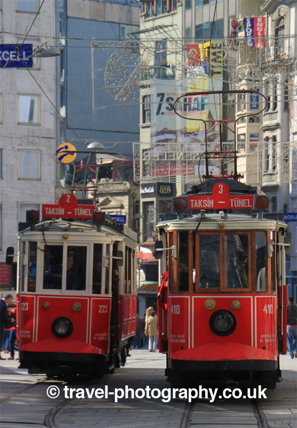 Classic old trams of Taksim, Istanbul