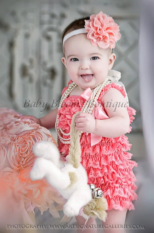 Baby Headband Girl Peach Coral Lace